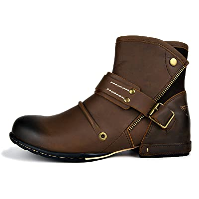 OTTO ZONE Moto Boots for Men Leather Chukka Boots Dual Side Velcro Casual Shoes OZ-5008-7: Shoes