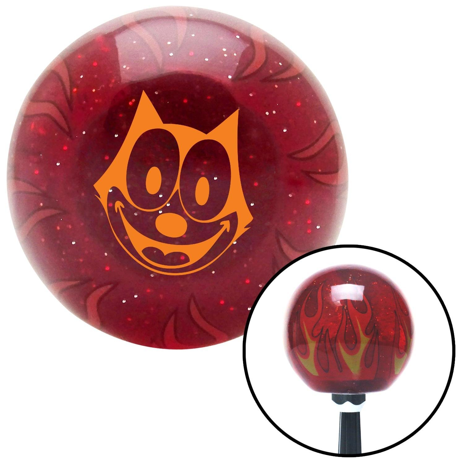 American Shifter 242340 Red Flame Metal Flake Shift Knob with M16 x 1.5 Insert Orange Felix The Cat Smiling