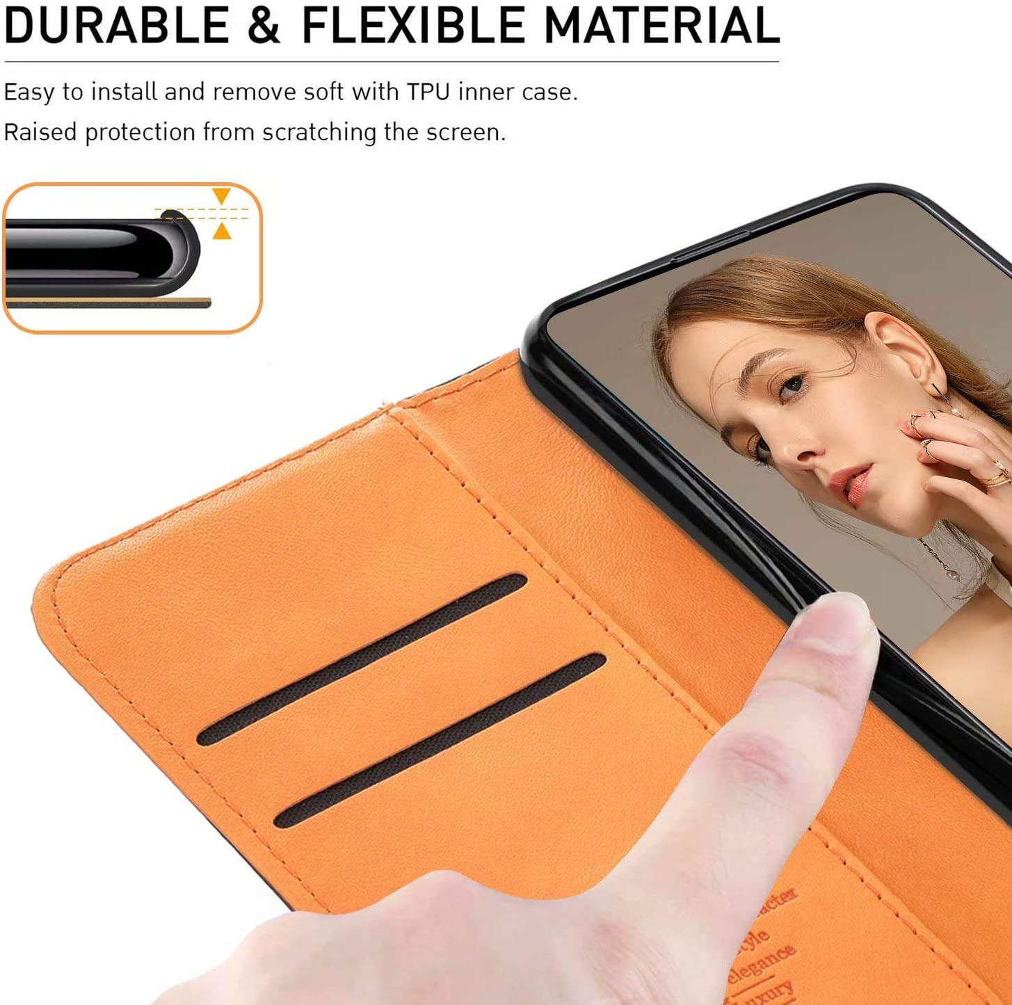 Black Stylish Flip Leather Wallet Protective Phone Case Card Holster Shell for Samsung Galaxy A51 FMPCUON for Samsung Galaxy A51 Case Samsung Galaxy A51 Phone Cover