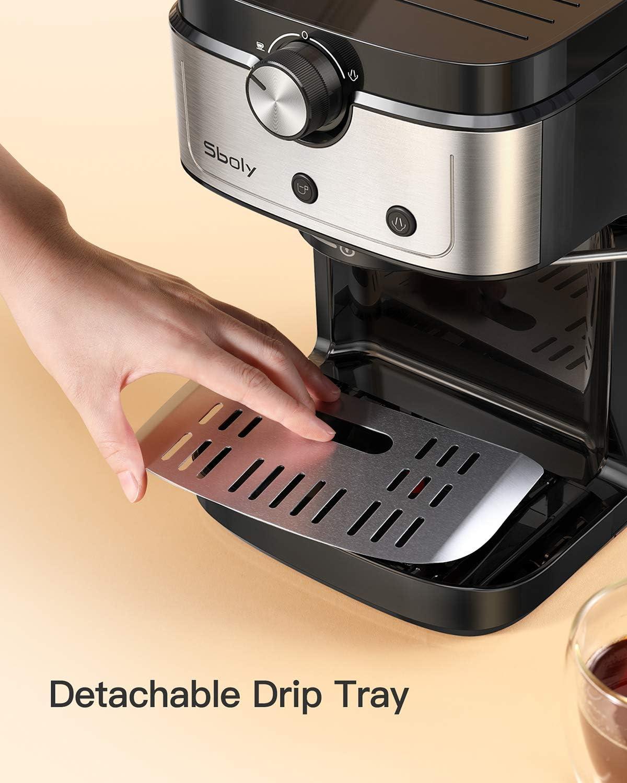 Macchina per Caff/è 2-In-1 Compatibile Con Capsule Nespresso e Caff/è Macinato Macchina per Espresso Sboly Macchina per Espresso a 19 bar Con Serbatoio dellAcqua Rimovibile