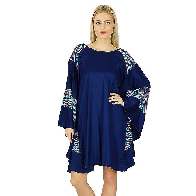 bimba Rayon Kurz Poncho Kleid Schmetterling Kaftan klassische Boho Kleidung