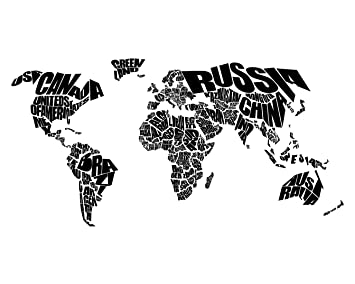 Amazoncom World Word Map Typographic Map Of The World Black - Word map