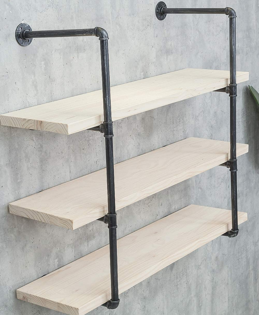 Industrial Iron Pipe Wall Shelf Shelves Shelving Brackets Vintage Retro Black DIY Open Bookcases/Floating Shelves/Storage Office Home Kitchen (Planks Not Included) (4-Tier, Planks are not Included)
