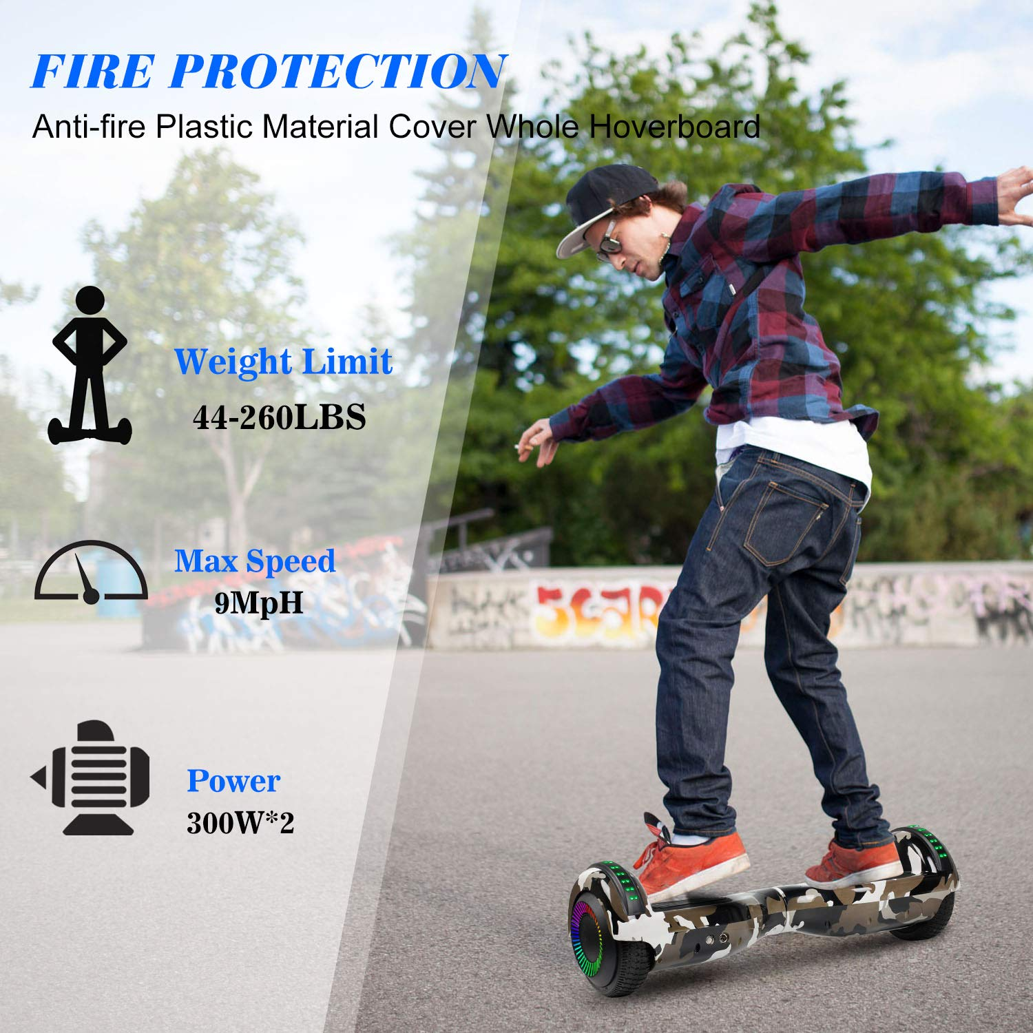 Hoverboard Self Balancing Scooter 6.5'' Two-Wheel Self Balancing Hoverboard with Bluetooth Speaker and LED Lights Electric Scooter for Adult Kids Gift UL 2272 Certified Fun Edition - Desert Camo by SISIGAD (Image #5)