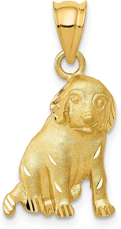 14k Yellow Gold Dog Pendant