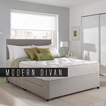 hot sale online 10110 5b2d1 Light Grey Divan Bed with Orthopaedic Mattress, Headboard (4ft6 Double) -  Chenile Fabric