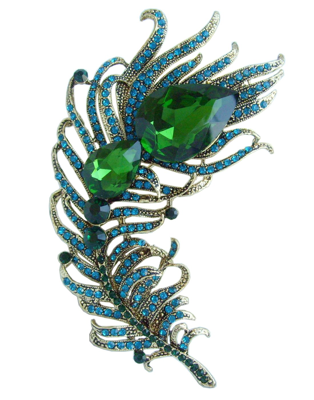 4.33'' Rhinestone Crystal Peacock Feather Brooch Pin Pendant BZ5038 (Gold-Tone Green)
