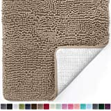 Gorilla Grip Original Luxury Chenille Bathroom Rug Mat (44 x 26), Extra Soft and Absorbent Large Shaggy Rugs, Machine Wash/Dry, Perfect Plush Carpet Mats for Tub, Shower, and Bath Room (Beige)