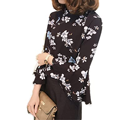 OUXIANGJU New Spring Ladies Tops Women Blouse Floral Print Flare Sleeve Chiffon Shirts