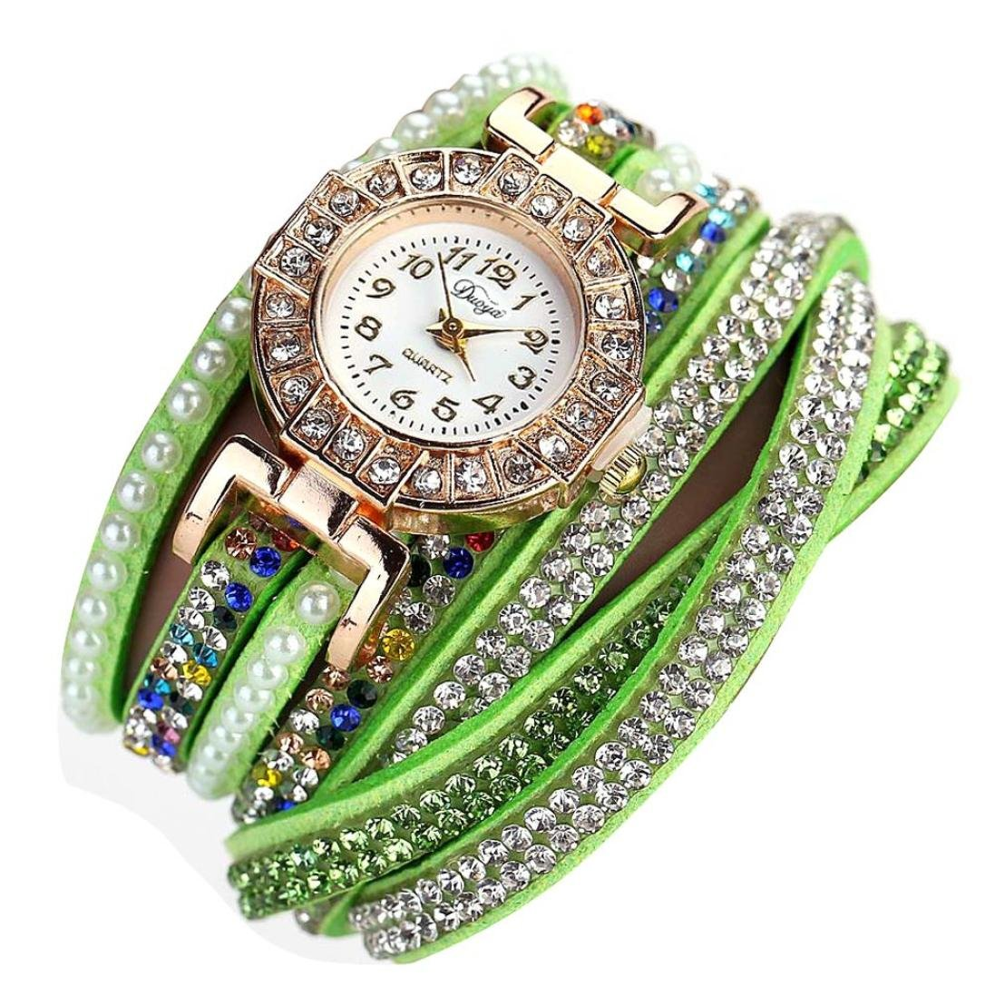 Green Hunputa Ladies Watch Women Pearl Scale Bracelet Quartz Wristwatch Crystal Diamond Clock Women Dress Watch