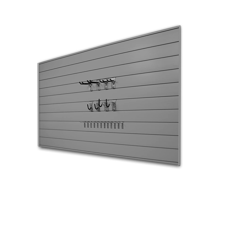 Proslat 33012 Basic Bundle with Slatwall Panels and Hook Kit, Charcoal