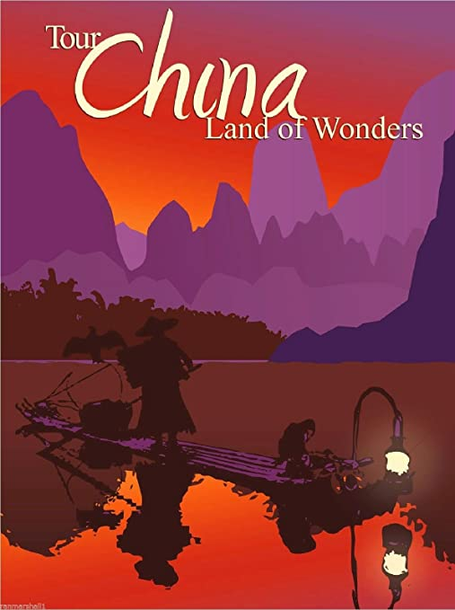 Land of Wonders Chinese Orient Travel Art Advertisement Poster Tour China