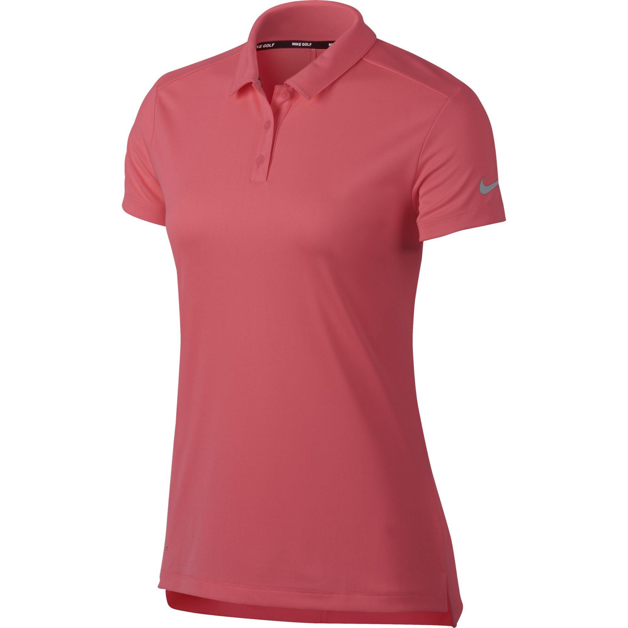 NIKE Women's Dry Short Sleeve Golf Polo, Sunset Pulse/Flat Silver, Medium