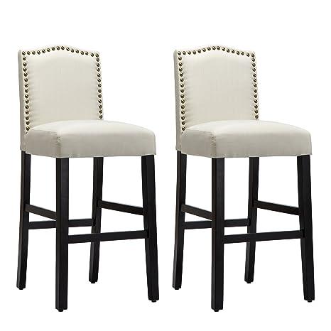 Sensational Nobpeint Nail Head Studded Fabric Backed Bar Stools 30 Inch Set Of 2 Beige Ibusinesslaw Wood Chair Design Ideas Ibusinesslaworg