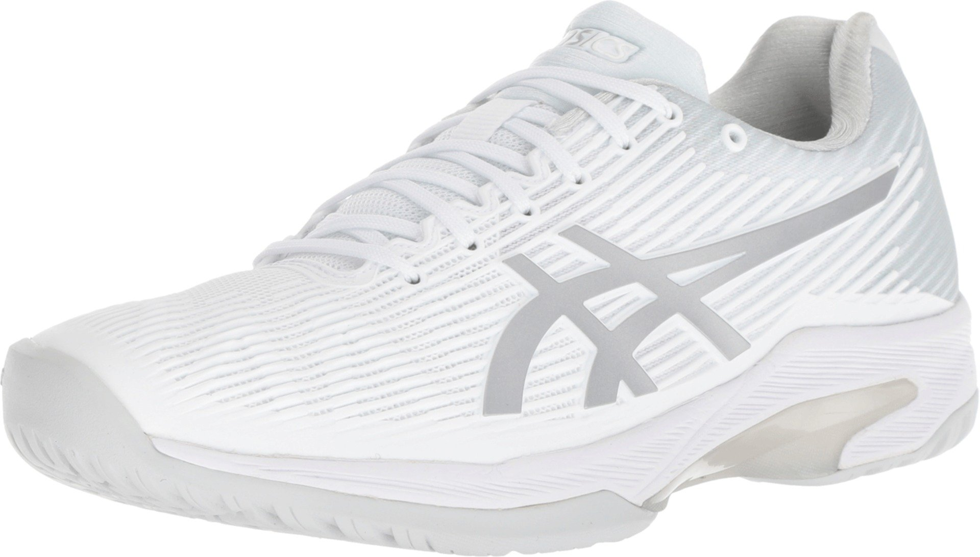 ASICS Womens Solution Speed FF Tennis Shoe, White/Silver, Size 5