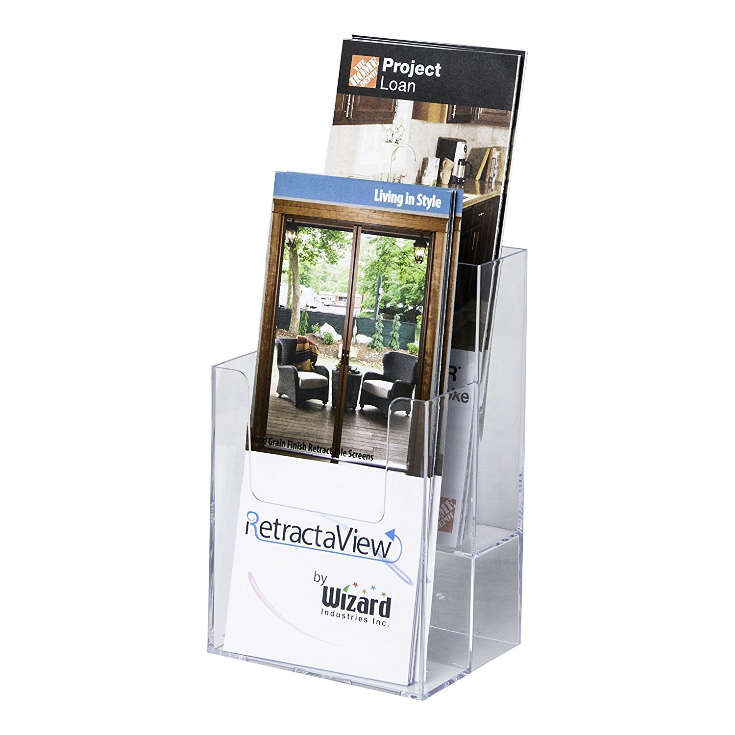 Clear-Ad - LHF-S102 - Acrylic Slant Back 2 Tier Trifold Brochure Display in Bulk - Plastic Literature Holder for Flyers, Booklets, Bills, Mail, Letters, Cards, Pamphlets, Maps (Pack of 60)