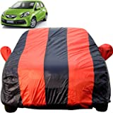 Autofact Car Body Cover for Honda Brio (Mirror Pocket Fabric, Triple Stiched, Fully Elastic, Red/Blue Color)