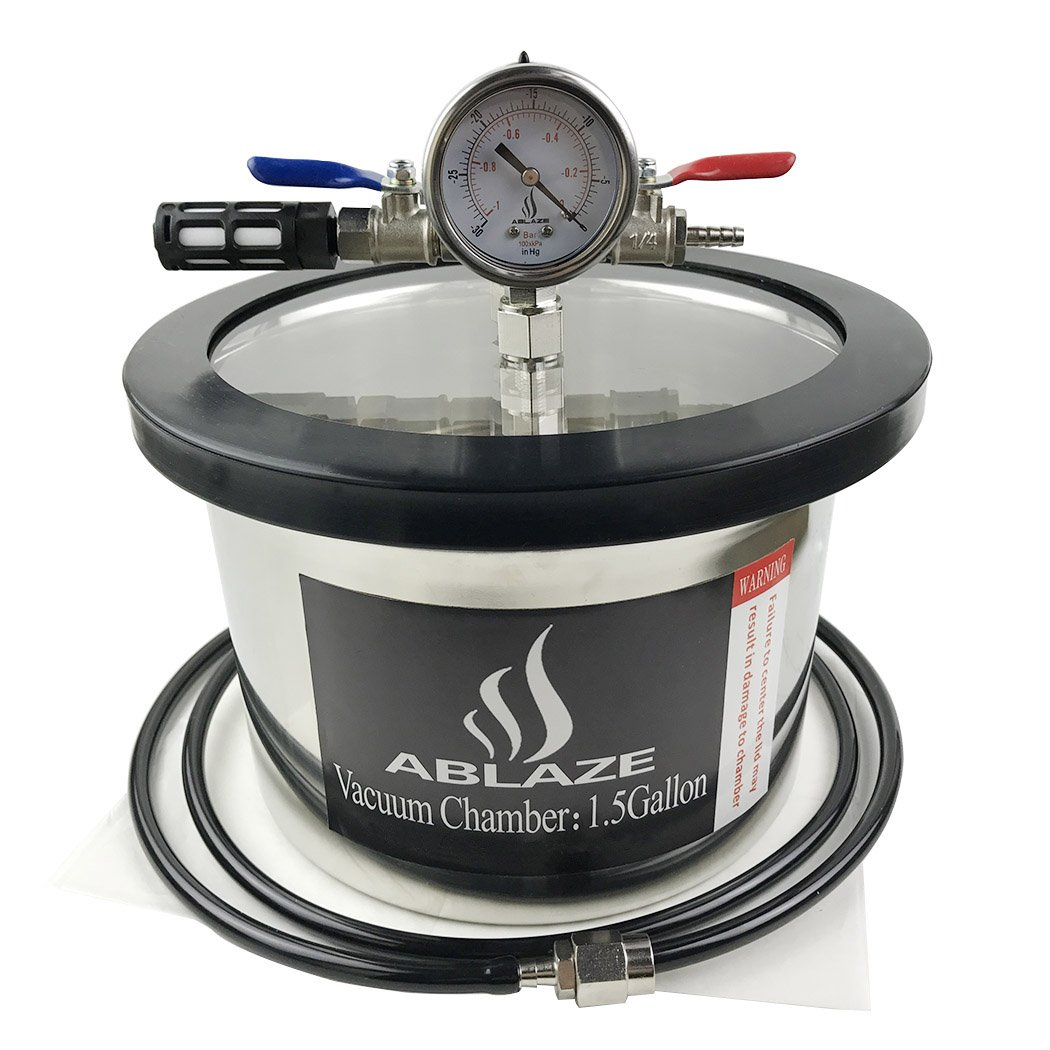 ABLAZE 1.5 Gallon Gal Vacuum Chamber Stainless Steel Degassing Urethanes Silicone Epoxies Lid Kit by Ablaze