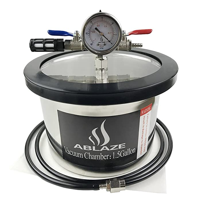 ABLAZE 1.5 Gallon Gal Vacuum Chamber Stainless Steel Degassing Urethanes Silicone Epoxies Lid Kit