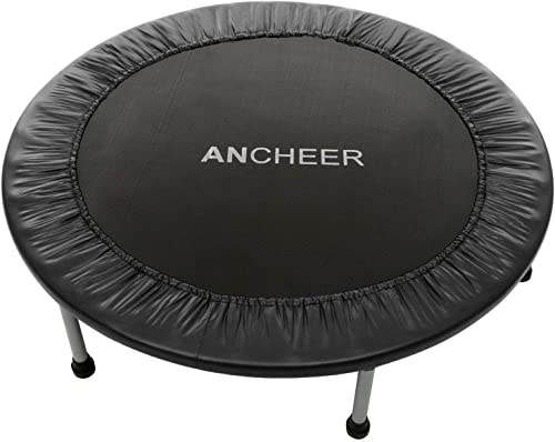 ANCHEER Mini Fitness Trampoline for Adults and Kids, Max Load 220lbs Rebounder Trampoline for Indoor Garden Workout Cardio Training 2 Sizes 38 inch 40 inch, Two Modes Folding Not Folding
