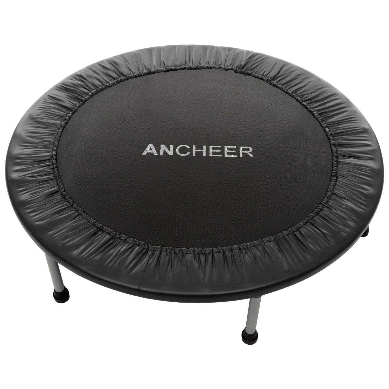 ANCHEER Max Load 220lbs Rebounder Trampoline with Safety Pad for Indoor Garden Workout Cardio Training (2 Sizes: 38 inch / 40 inch, Two Modes: Folding/Not Folding) (Red, 40inch - Folding one time) by ANCHEER (Image #1)