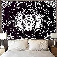 Tapiz Colgante de pared Blanco y negro Sol Dios Astrología Tarot Tapices psicodélicos Tapiz de pared Arte abstracto…
