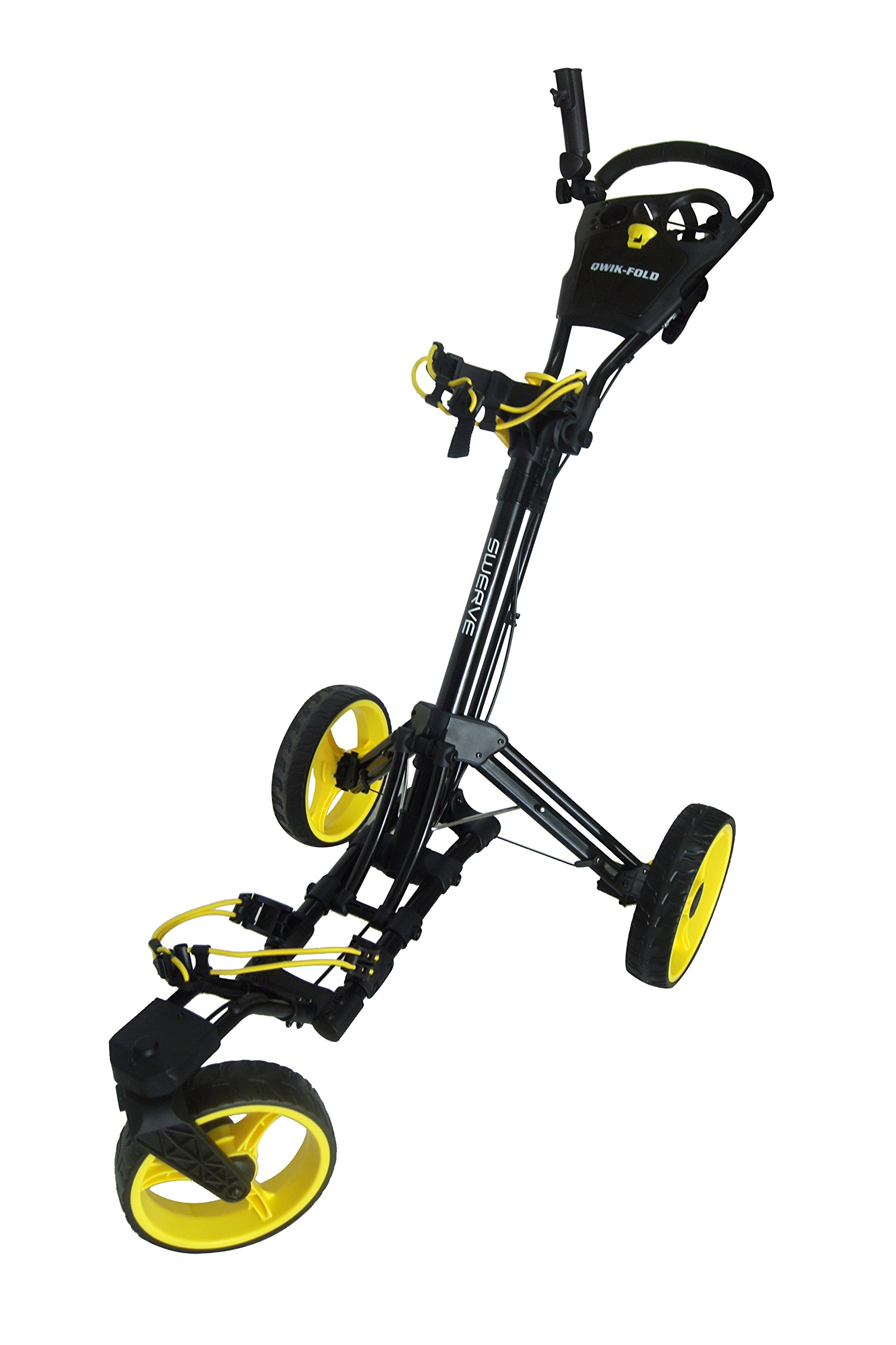 Swerve Founders Club 360 Swivel Wheel Qwik Fold Golf Push Cart (Black/Yellow)