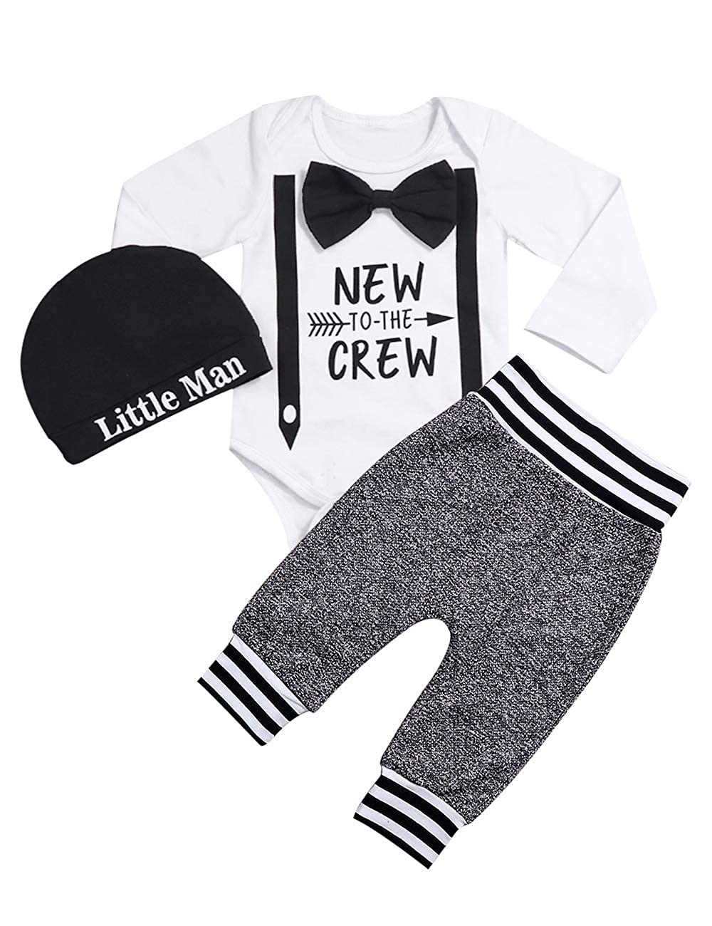 itkidboy Sibling Outfits Set The Crew Sweatshirt & New to The Crew Long Sleeve Romper Pants Matching Outfit Set