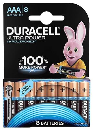 Duracell - Ultra Power AAA, pila alcalina de duración y potencia superior, 8 unidades de apertura simplificada