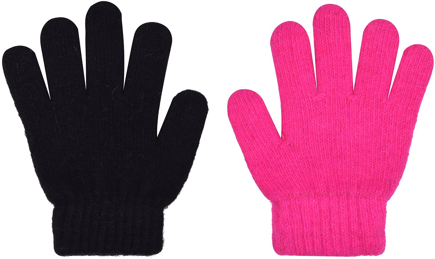 2 Pair Magic Stretch Gloves Winter Wool Knit Glove for Girls and Boys Black Pink