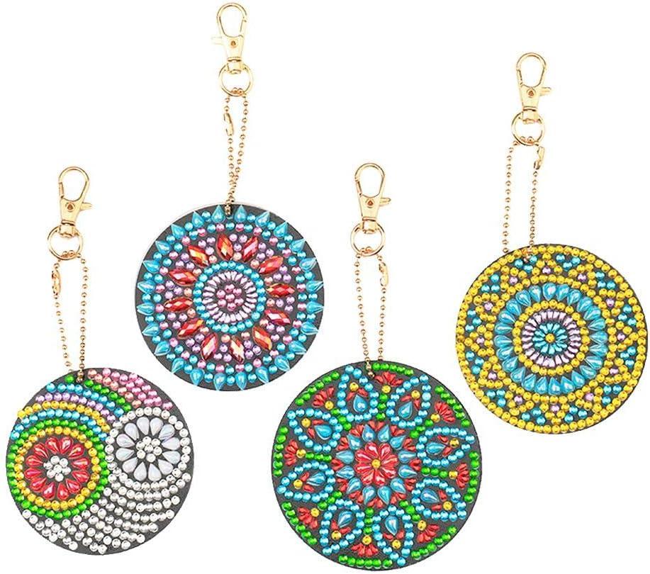 5PC Mandala Diamond Painting Key Chains Pendant DIY Resin Key Ring Keychain Kits