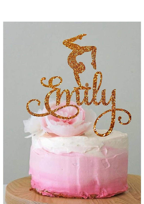 Amazon Personalized Gymnastics Cake Topper Gymnast Birthday Decoration Party Custom Handmade