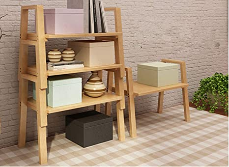 AllBombuu Bamboo DIY Storage Shelves,4-Pack Expandable Stackable Kitchen  Cabinet and Counter Shelf Organizer,Book Shelf Shelving for Bedroom Living  ...