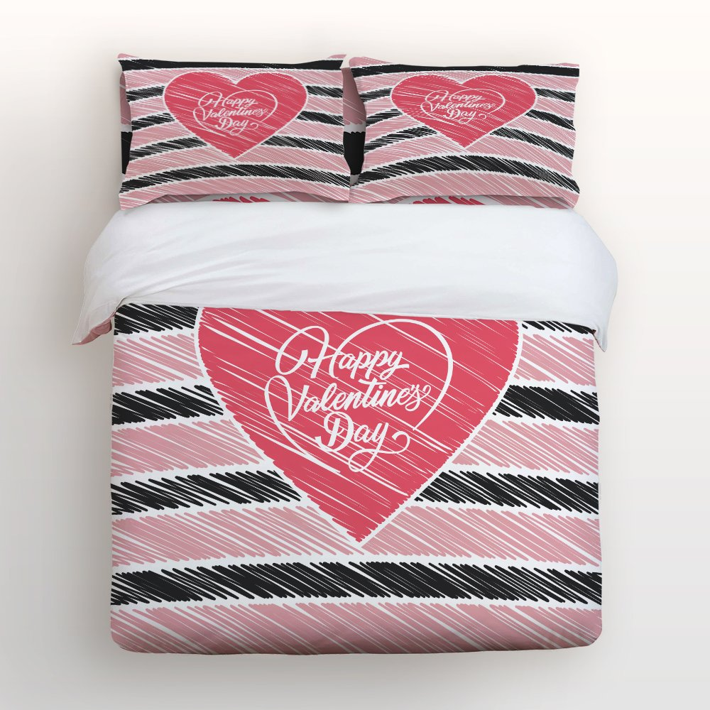Hot Sale Libaoge 4 Piece Bed Sheets Set, Happy Valentineu0027s Day Heart Shape  With Black