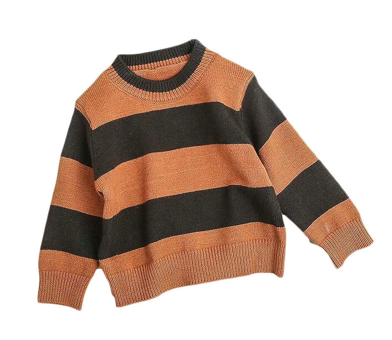 Joe Wenko Boys Striped Color Block Knit O-Neck Casual Pullover Sweaters