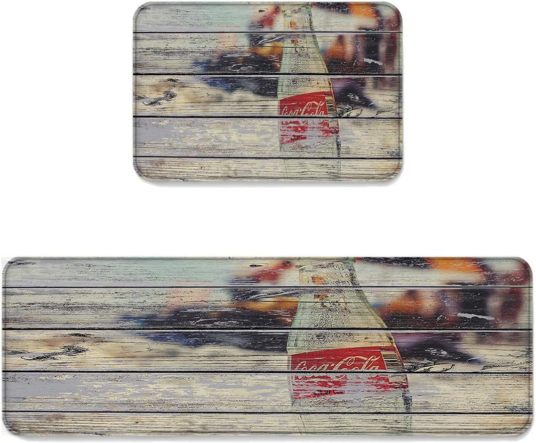 2 Pieces Non-Slip Soft Kitchen Mat, Coke Bottle Rustic Wooden Plank