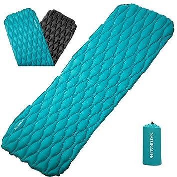 Naturalife Colchón Inflable para Dormir fácil de inflar para Camping, mochileros, Excursionismo, Azul