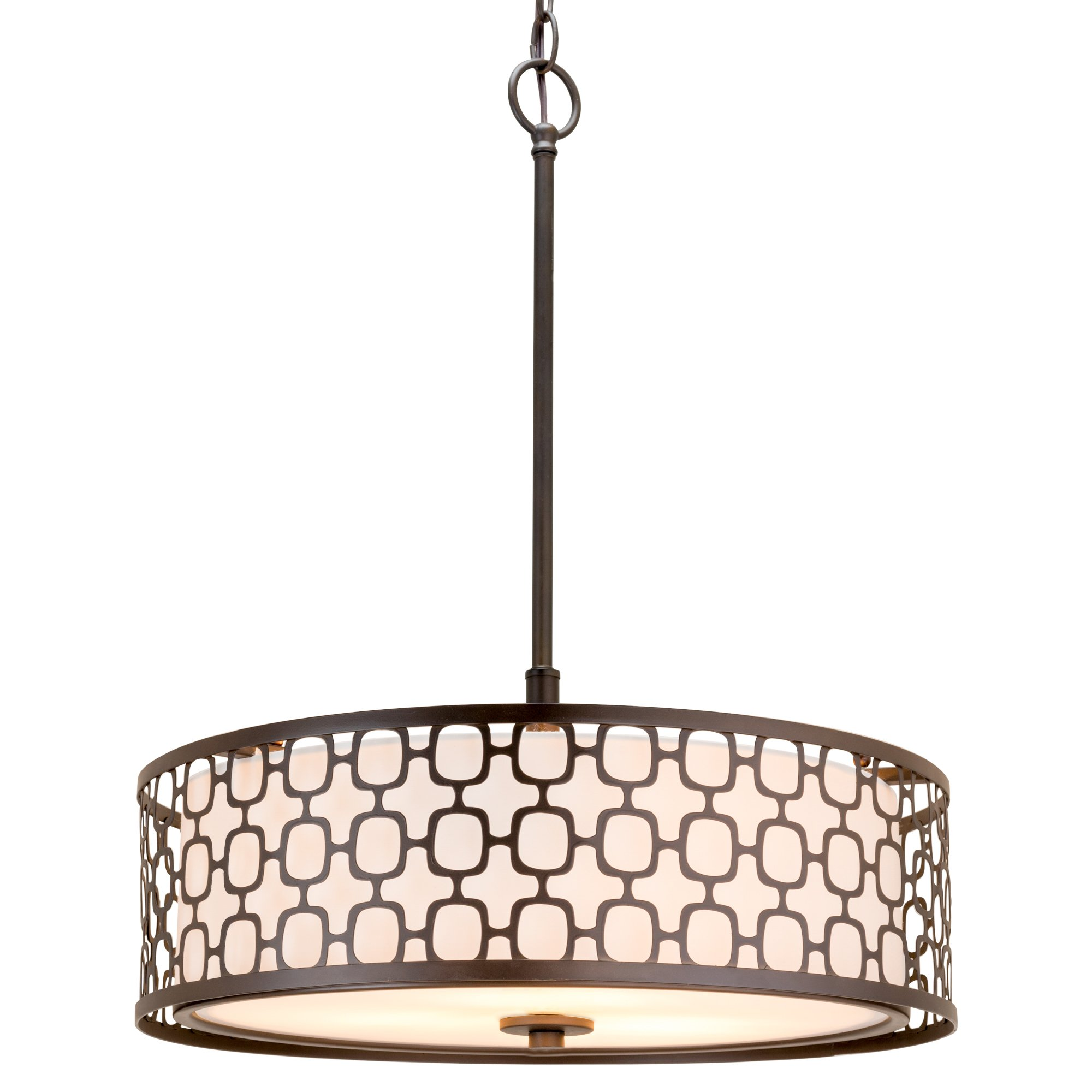 "Revel Harper 18"" Modern Metal Drum Chandelier with Lattice Shade"