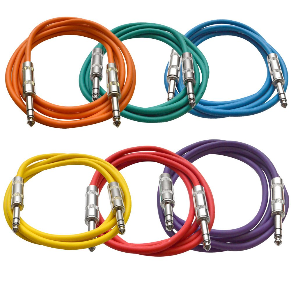 Seismic Audio SATRX-6BGORYP 6 Pack of Multi Color 6' 1/4''TRS to 1/4'' TRS Patch Cables
