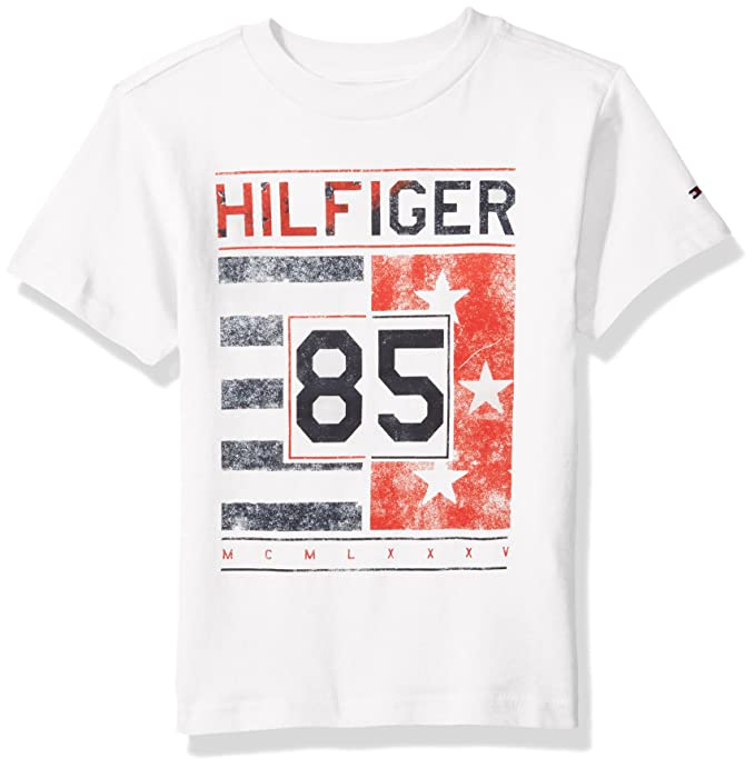 e8dd6d53 Image Unavailable. Image not available for. Colour: Tommy Hilfiger Boys' Little  Short Sleeve Crew Neck Flag Graphic T-Shirt ...