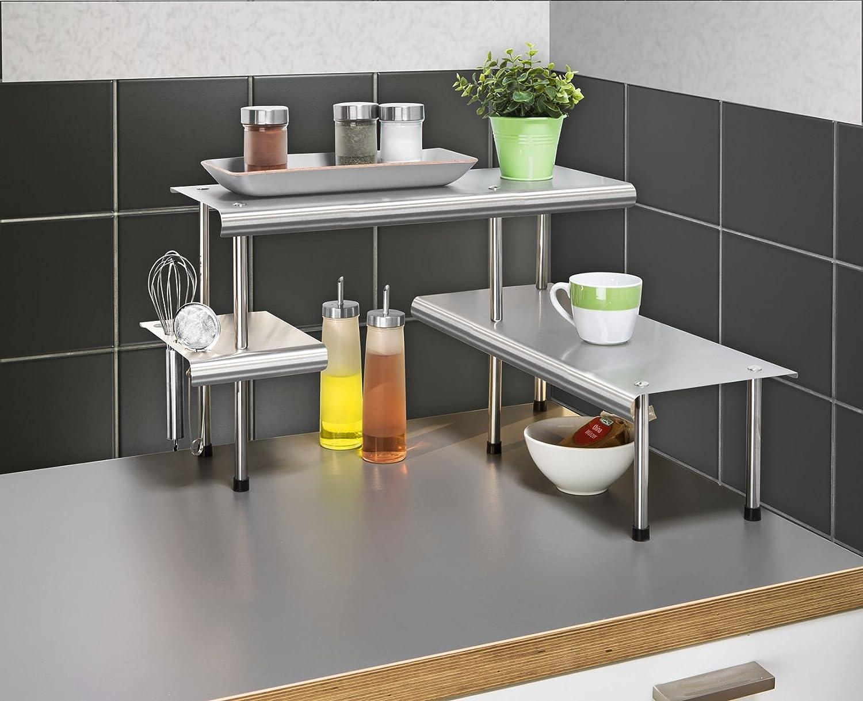 Wenko, Scaffale angolare da cucina, Argento (Silber), 50 x 31 x 50 ...
