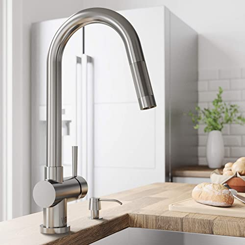 VIGO VG02008STK2 Gramercy 17 Inch Arc Brass Kitchen Sink Faucet