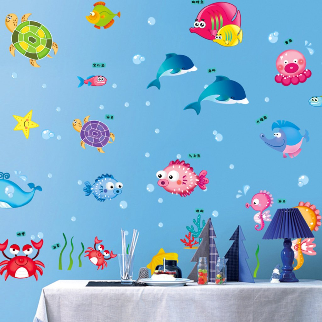 Sea wall decals foter underwater sea creature wall sticker pack buy decals design underwater creatures baby wall sticker pvc underwater wall decals amipublicfo Gallery