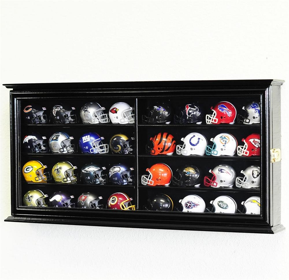 32 Pocket Pro mini Helmet Display Case Cabinet Holders Rack w/ UV Protection, Black by sfDisplay.com, Factory Direct Display Cases