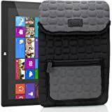 Tablet Case Sleeve Pouch Cover w/ Protective Neoprene Padding & Zipper Accessory Pocket by USA GEAR - Will fit Linx 1010B , Samsung Galaxy Tab A 10.1 , Microsoft Surface Pro , Dragon Touch A1X Plus , ASUS Transformer Book T100 & More