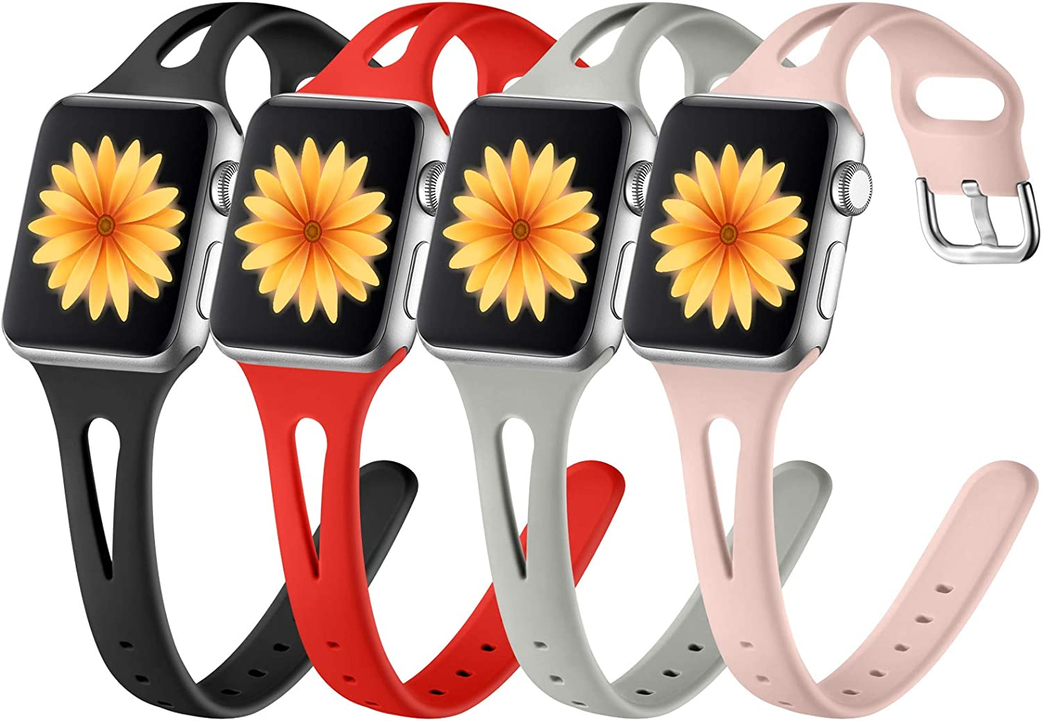 GEAK 4 Pack Compatible with Apple Watch Band 40mm iWatch SE & Series 6 5 4 3 2 1 for Women Men, Soft Slim Silicone Sport Strap for Apple Watch Band 38mm Women Balck/Gray/Red/Sand Pink