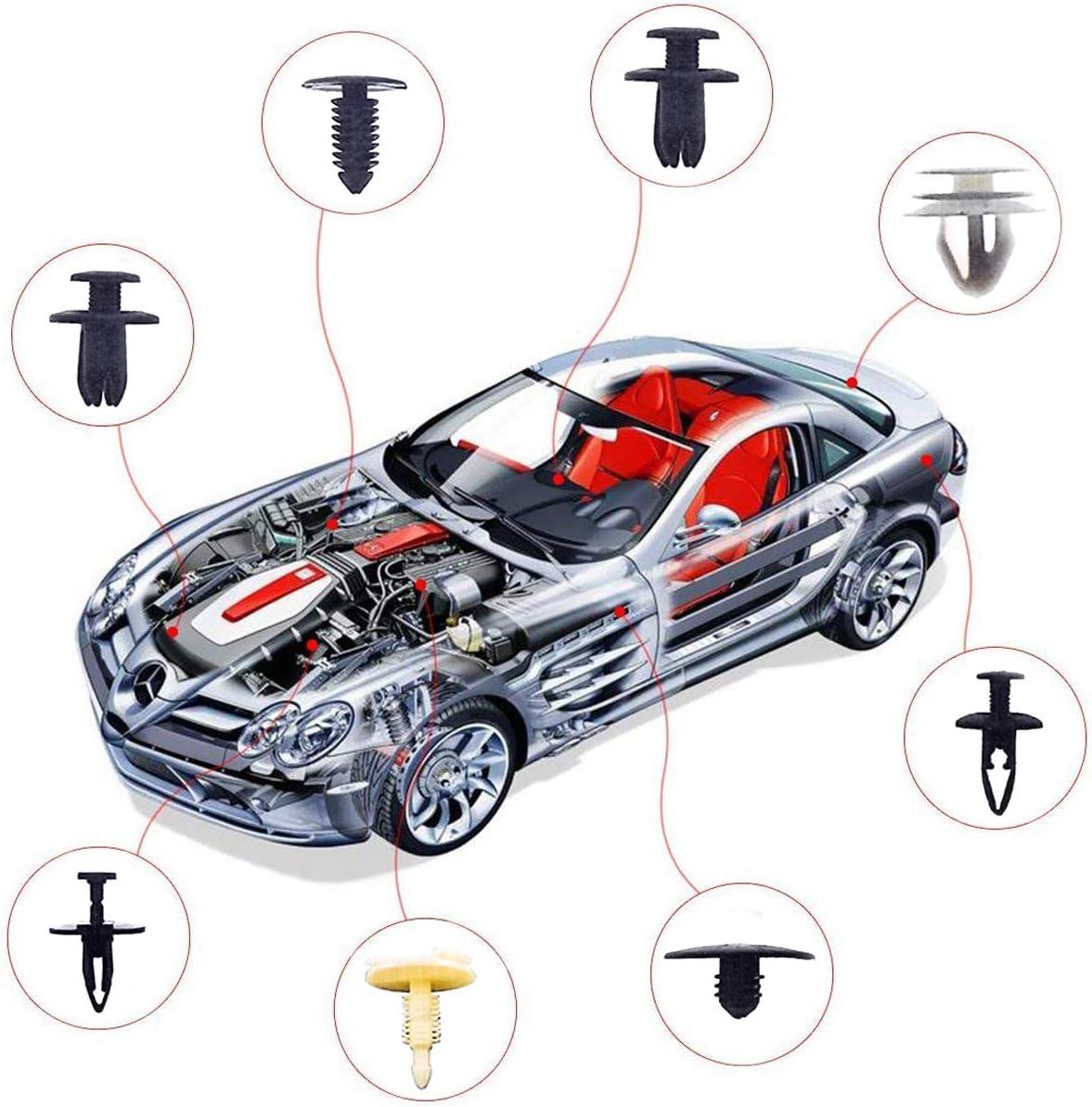 Hengda Befestigung Clips Auto 476PCS Universal Plastik Auto Befestigungsclips mit 4 Demontage Werkzeuge und Klammern Sto/ßstangen Mehrweg Befestigung Clips Set mit Kabelbinder