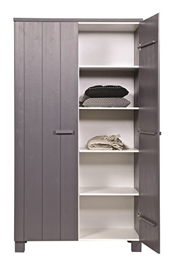 Woood Dennis Bed.Woood Dennis Pine Wardrobe Steel Grey Amazon Co Uk