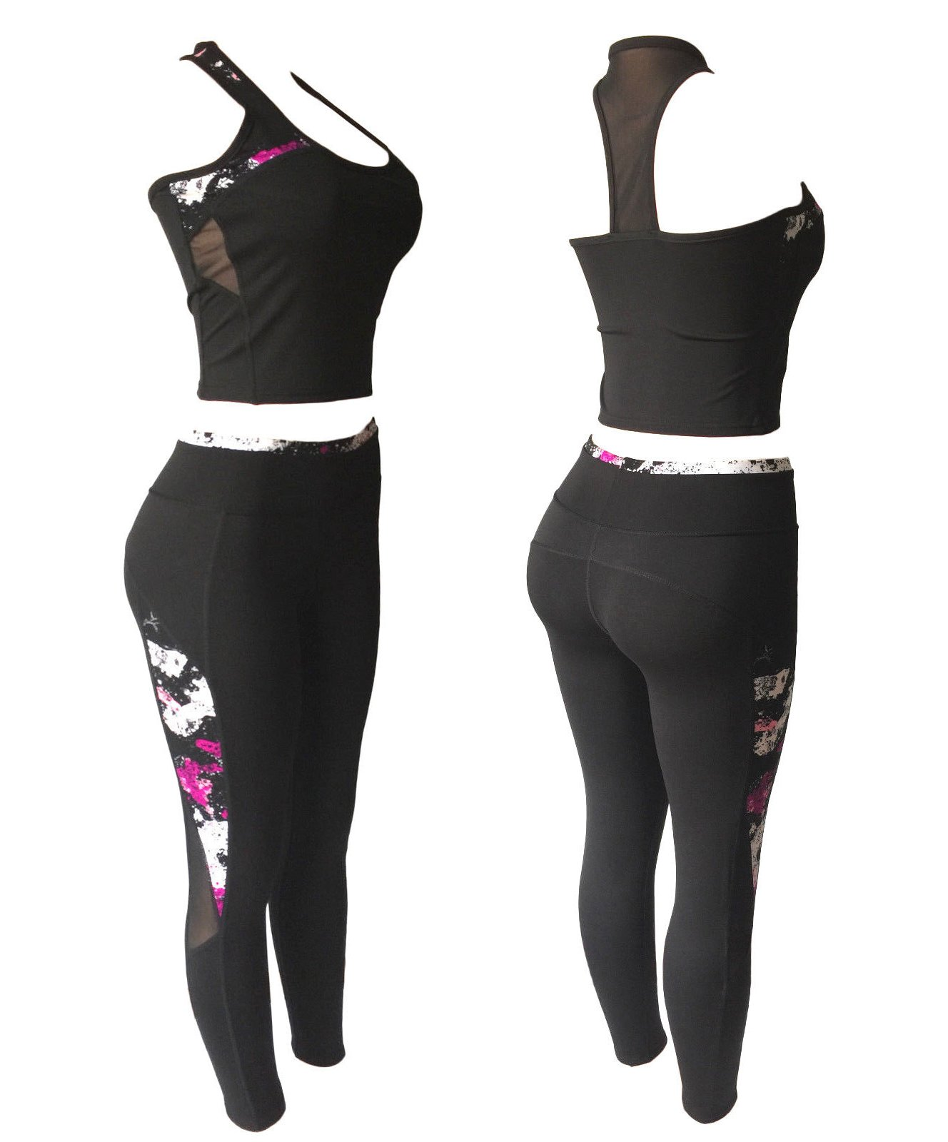 NY GOLDEN FASHION Women Sports Gym Yoga Suit Workout Activewear 2 Pieces Top+Leggings Set (S/M, Plum/White/Black Mix)