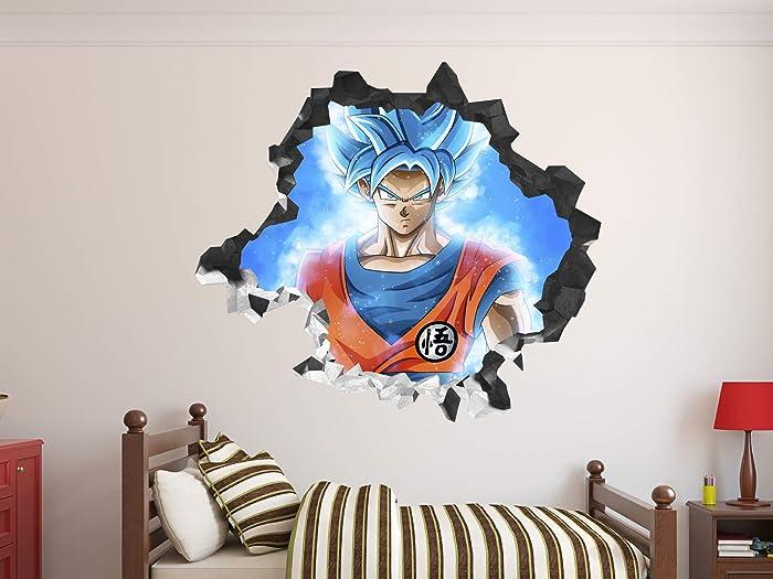 Dragon Ball Super Goku Ultra Instinct Sayan Wall Decal 3D Sticker Vinyl Decor Mural Kids (22